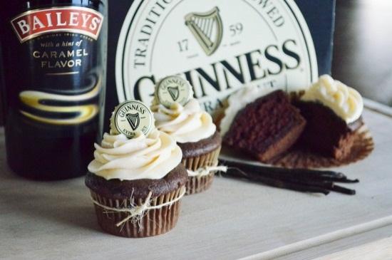 Guinness Chocolate Cupcakes with Bailey's Carmal Irish Cream Frosting Recipe