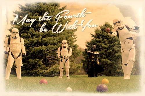 May the Fourth Be With You Bocce Postcard