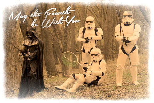 May the Fourth Be With You Postcard Fishing
