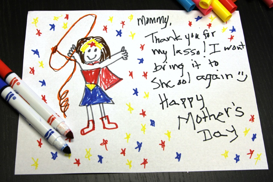 Kid Superhero Mother's Day Card - wonder woman