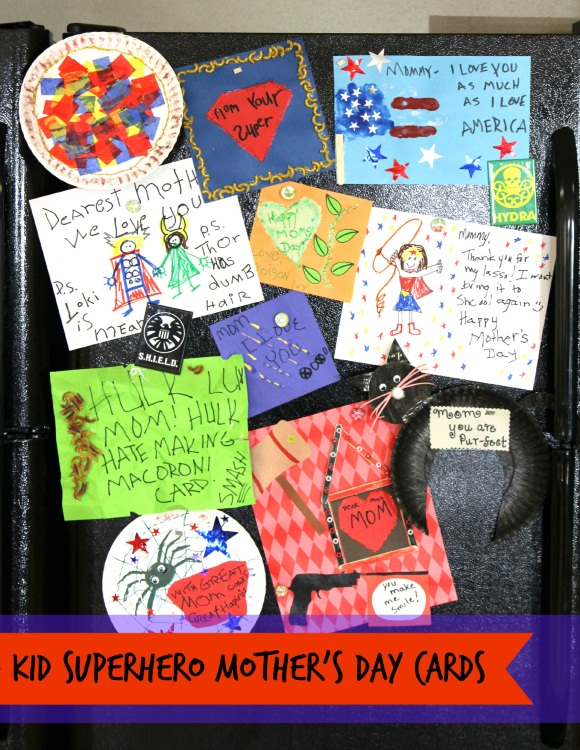 Kid Superhero Mother's Day Card - On Fridge