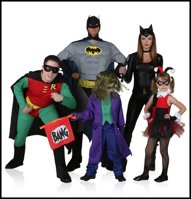 Batman, Robin, Cat Woman, Joker, and Harley Quinn
