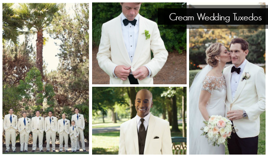 Cream Colored Grooms Tuxedos
