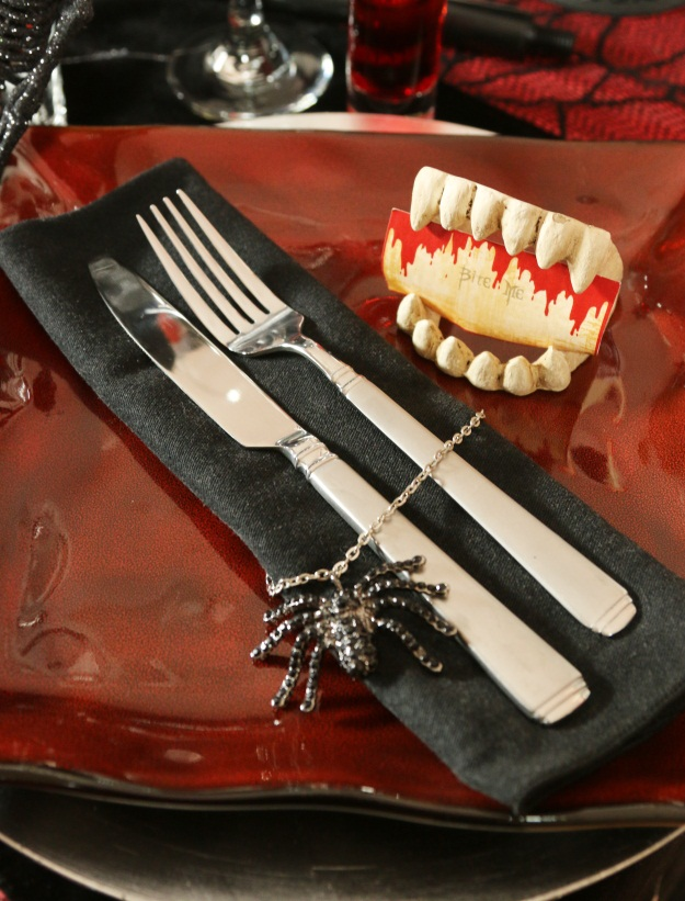 Gothic Halloween Table Vampire Teeth Place Cards