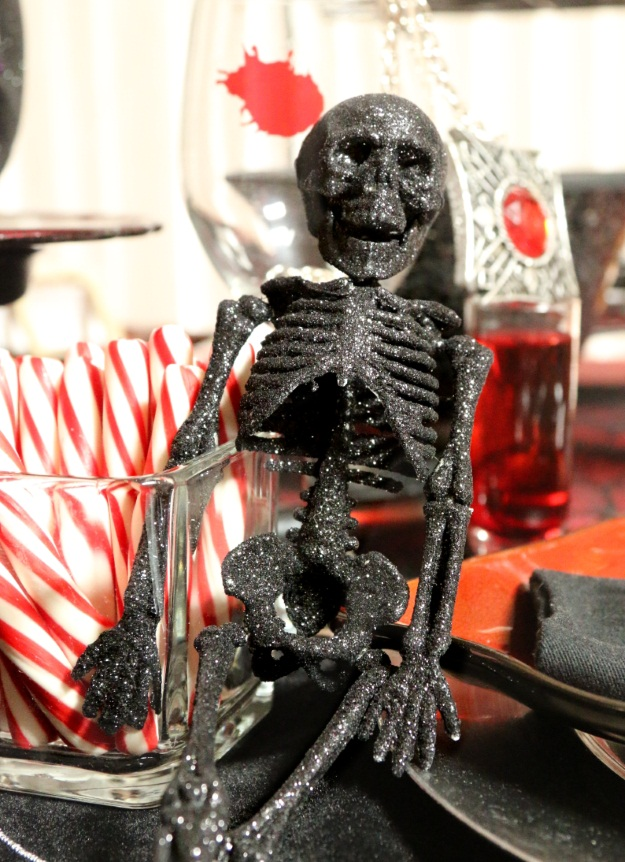 Glitter Skeleton Prop Halloween Gothic Table Setting