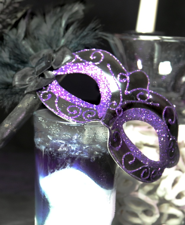 Whimsical Halloween Purple Glitter Mask