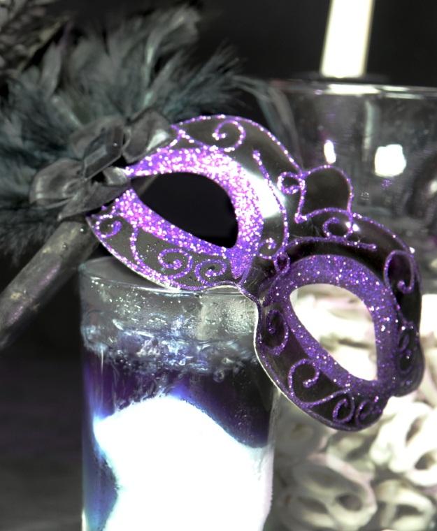 Whimsical Halloween Purple Glitter Mask