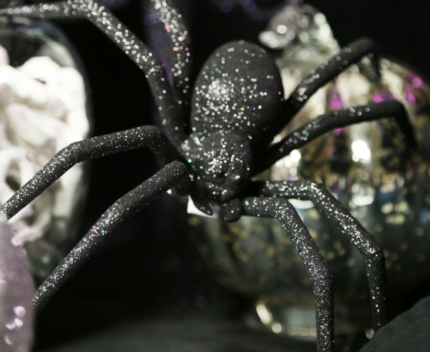 Whimsical Halloween Glitter Spider Prop