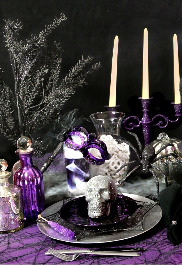 Whimsical Halloween Decorations Spray Glitter Twigs
