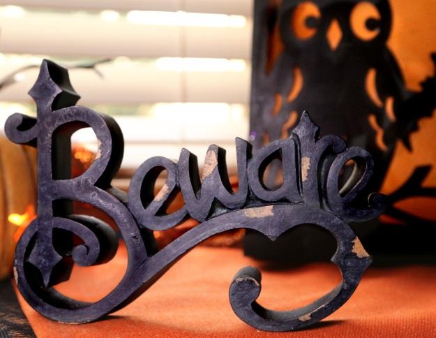 Classic Halloween Beware Cutout Wooden Sign