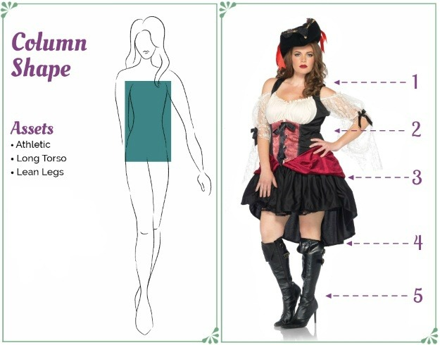 Pirate Costume for a Column Body Shape - How to dress to flatter your figure