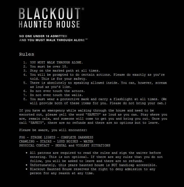 Blackout New York LA Haunted House