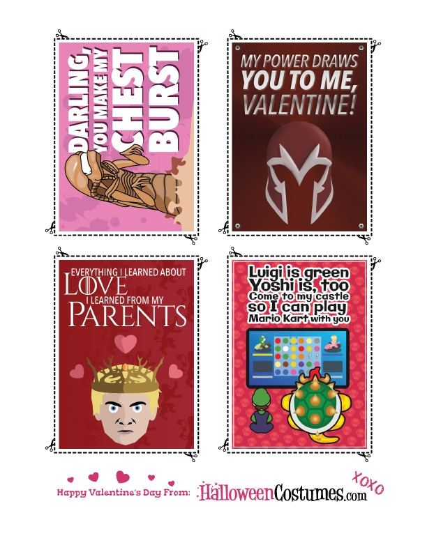 Printable Valentines Sheet 1