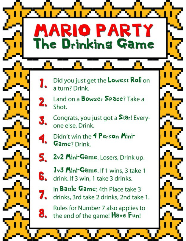 Mario Party Drinking Game