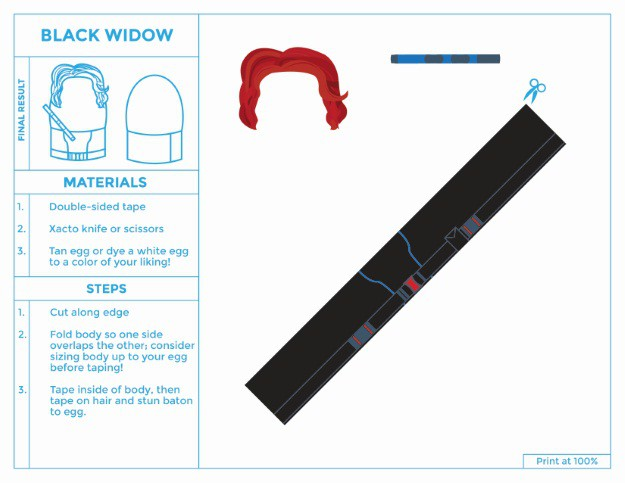 Black Widow Printable Egg Costume