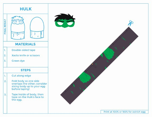 Printable HULK easter egg costume