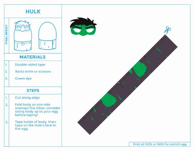 Printable HULK easter egg costume