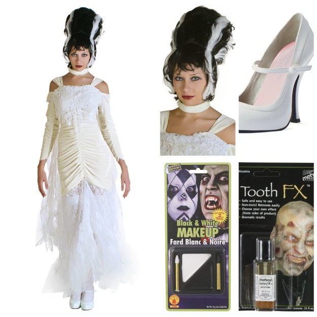 Bride Of Frankenstein Costume Women S Transylvania Wig Y White Heels