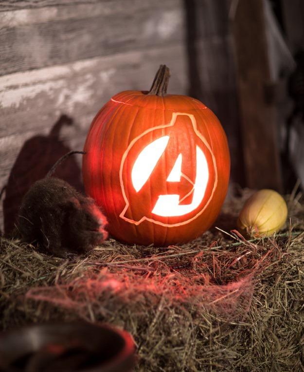 Avengers logo pumpkin