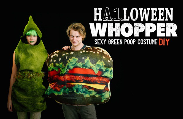 Burger King Halloween Whopper and Sexy Green Poop Halloween Costume