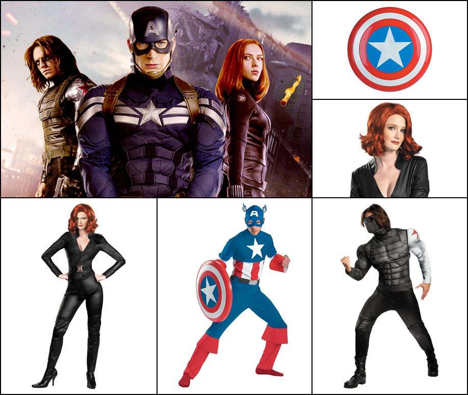 Captain America: Captain America, the Winter Soldier, and Black Widow costumes are really cool.