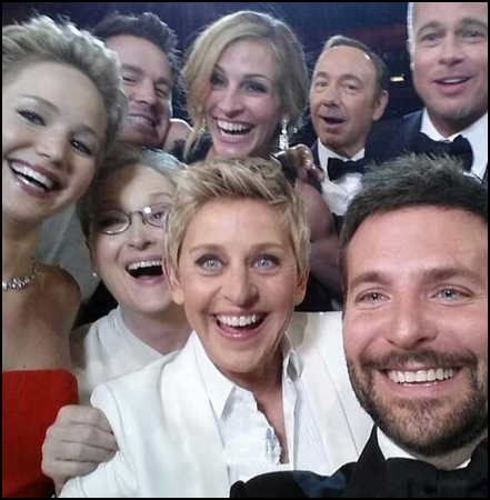 Academy Awards: Similar to the selfie costume, but better as a group selfie costume.