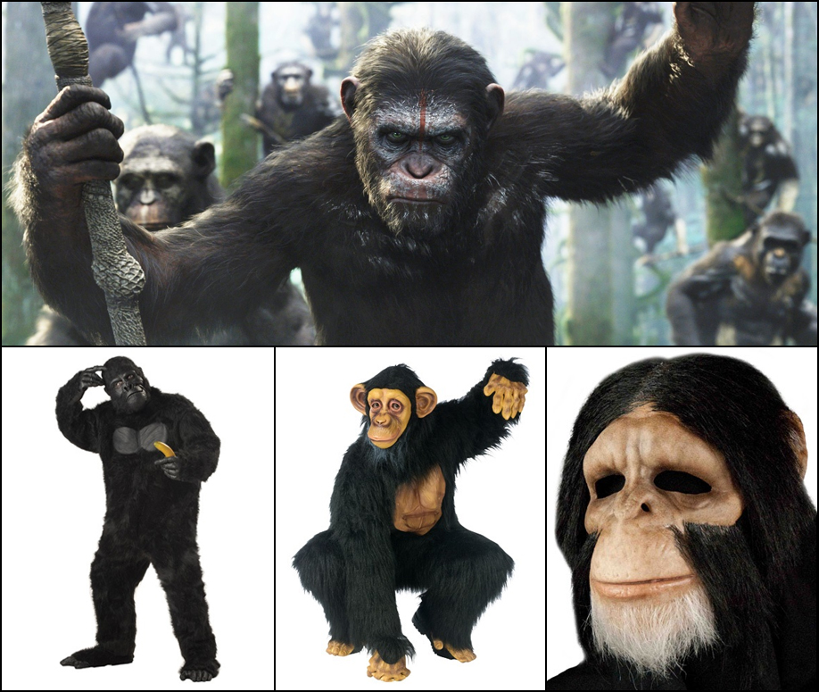 Dawn of the Planet of the Apes: Thanks to Caesar, a gorilla, chimpanzee, or monkey costume is perfect this year.