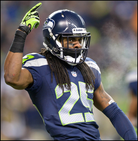 Richard Sherman: Richard Sherman has a big head, so put it on a custom big head mask for an effortless costume.
