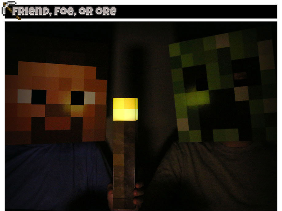 Steve, Creeper and Light Up Torch