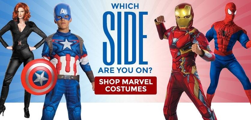 Choose a side! Shop Marvel Costumes!