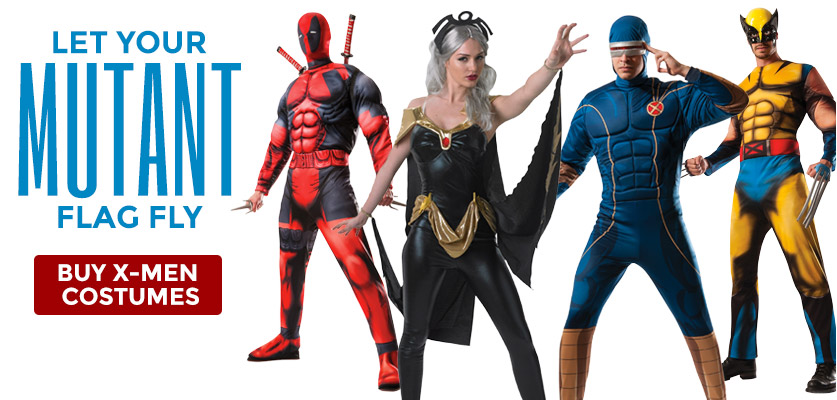 Let your mutant flag fly! Buy X-Men Costumes.