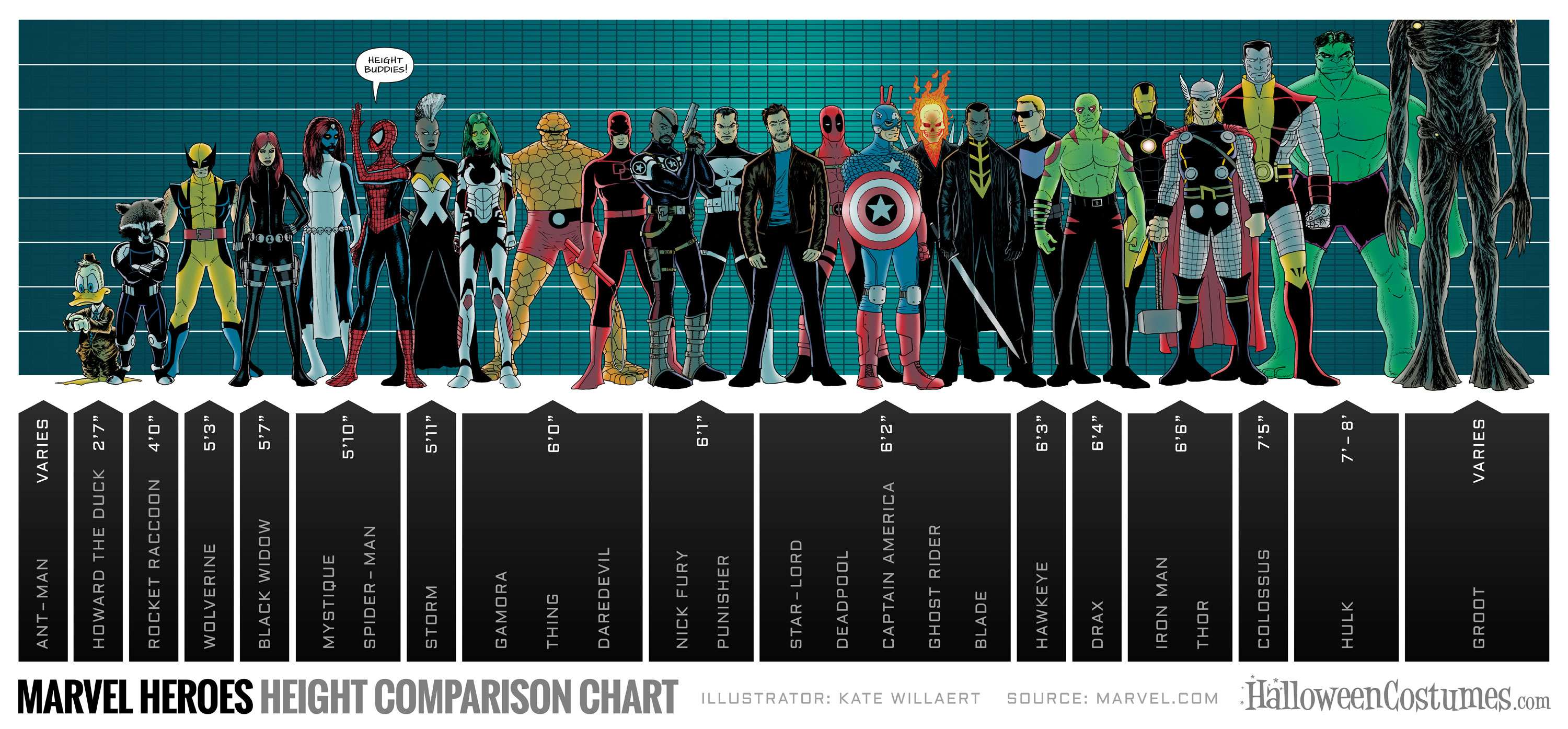The Marvel Superhero Height Chart