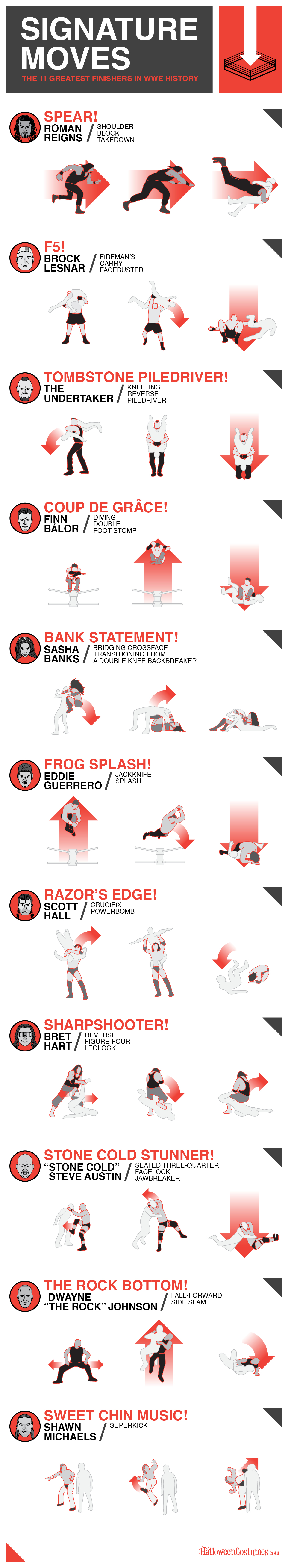 WWE Finishers Infographic