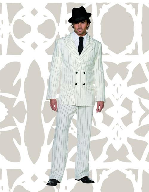 Men's White Gangster Costume