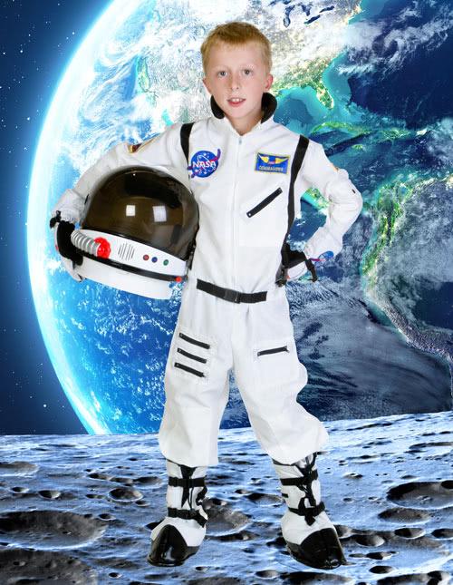 Childrens Astronaut Boys Girls Space Moon Fancy Dress Costume