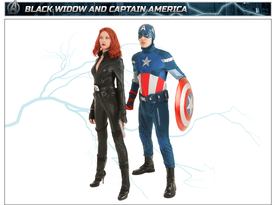 Black Widow Costume and Captain America Costume