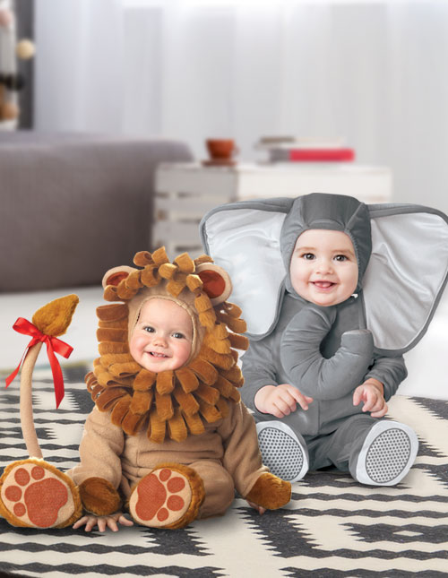 Baby Elephant and Lion Costumes