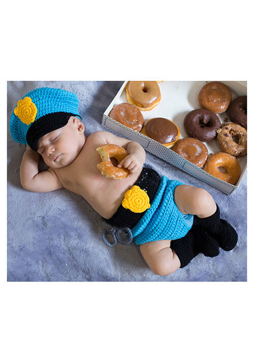 Newborn Mr. Police Officer Hat and Diaper Cover