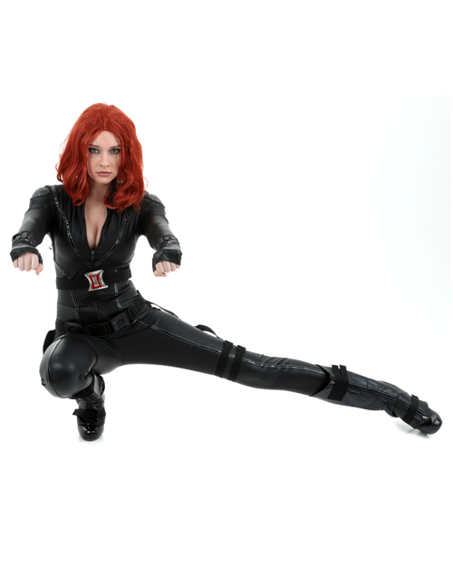 Crouch and Shoot Black Widow Pose