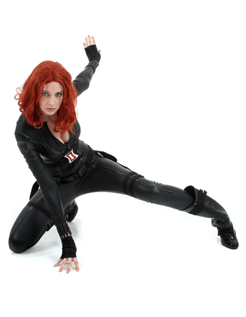 Get Low and Stay Alert Black Widow Pose