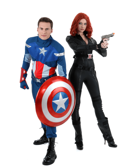 Black Widow and Captain America Couple Costumes