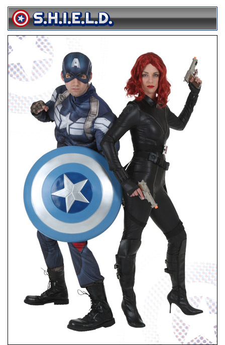 Captain America and Black Widow Couples Costume  sc 1 st  Halloween Costumes & Captain America Costumes - Adult Kids Woman Captain America Costume