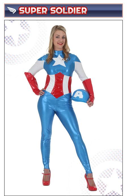 Womens Captain America Bodysuit Costume