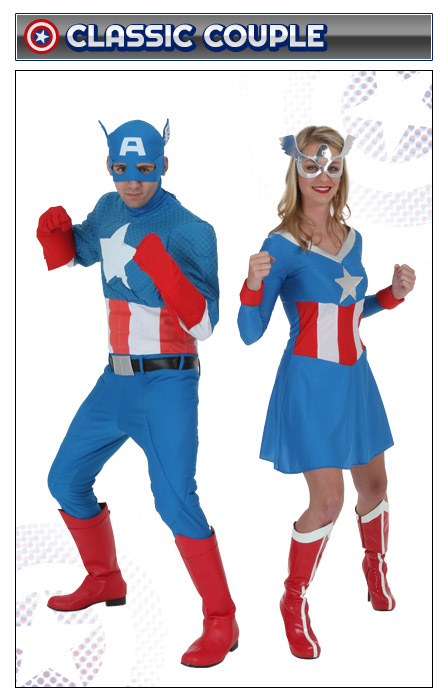 Captain America and American Dream Couples Costume  sc 1 st  Halloween Costumes & Captain America Costumes - Adult Kids Woman Captain America Costume