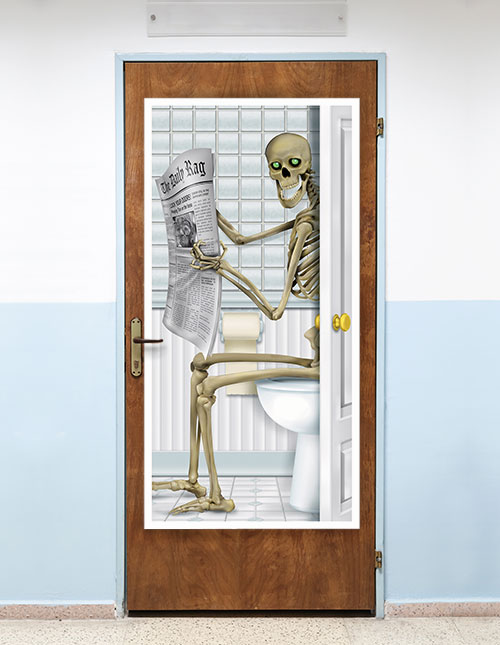 Halloween Decoration Skeleton Bathroom Door Cover Spooky Decor