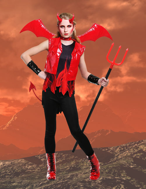 Girl's Demon Fire Costume