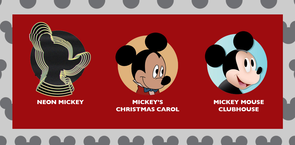 Neon Mickey, Mickey's Christmas Carol, and Mickey Mouse Clubhouse