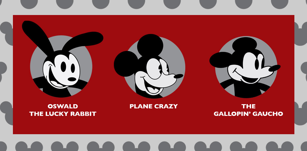 Oswald the Lucky Rabbit, Plane Crazy, and The Gallopin' Gaucho