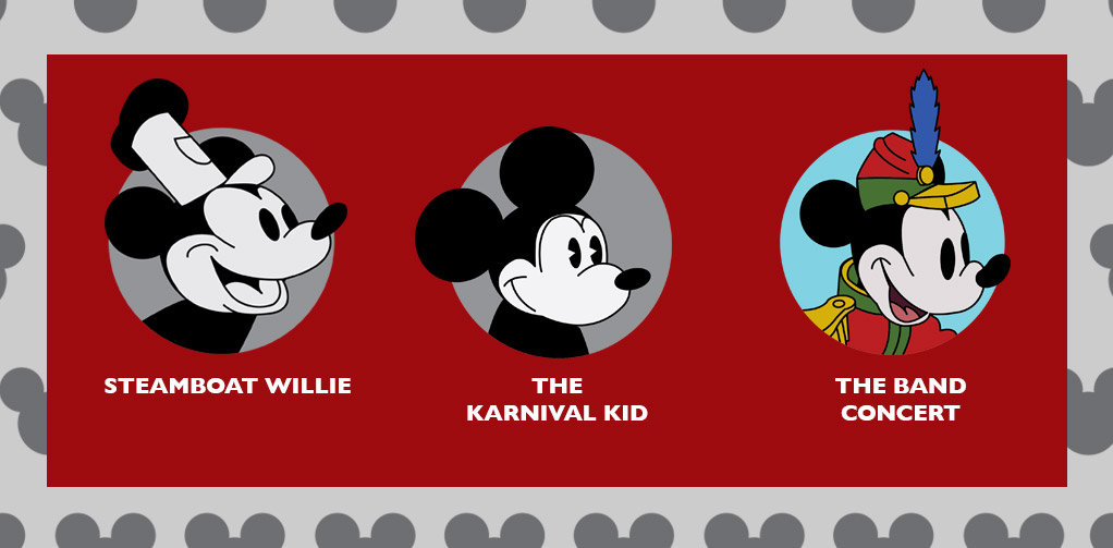 Steamboat Willie, The Karnival Kid, and The Band Concert