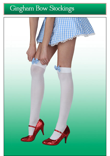 Thigh High Stockings with Gingham Bows